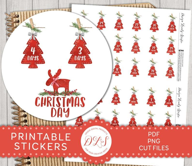 2020 Christmas Countdown Planner CHRISTMAS COUNTDOWN Planner Stickers Christmas Scrapbook   Etsy in