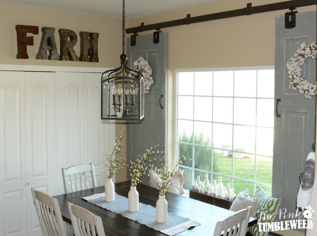 Room Sliding Barn Door Window Treatment