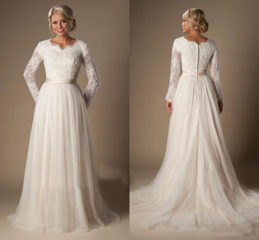 Long aline lace tulle modest temple wedding dresses long