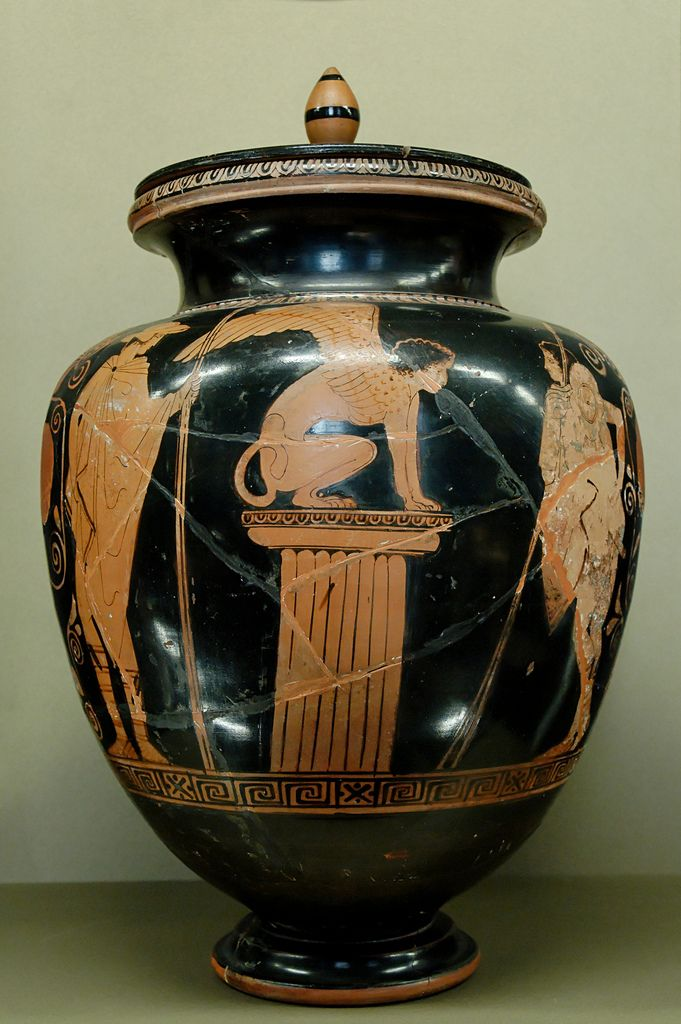 Oedipus Right The Sphinx Middle And Hermes Left Ancient Greek Pottery Greek Art Greek Vases