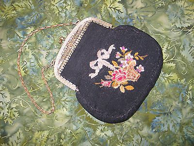 Antique-Vintage-Austria-Micro-Petit-Point-Evening-Handbag-Purse-Filigre-Frame