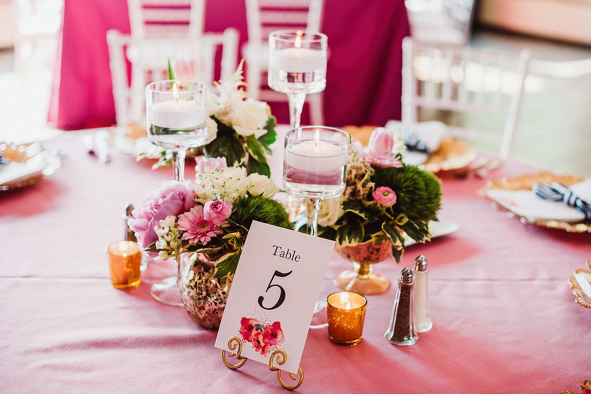 Pink and maroon wedding decor  pink wedding decor  photo by Aster u Olive  Real Wedding Amy