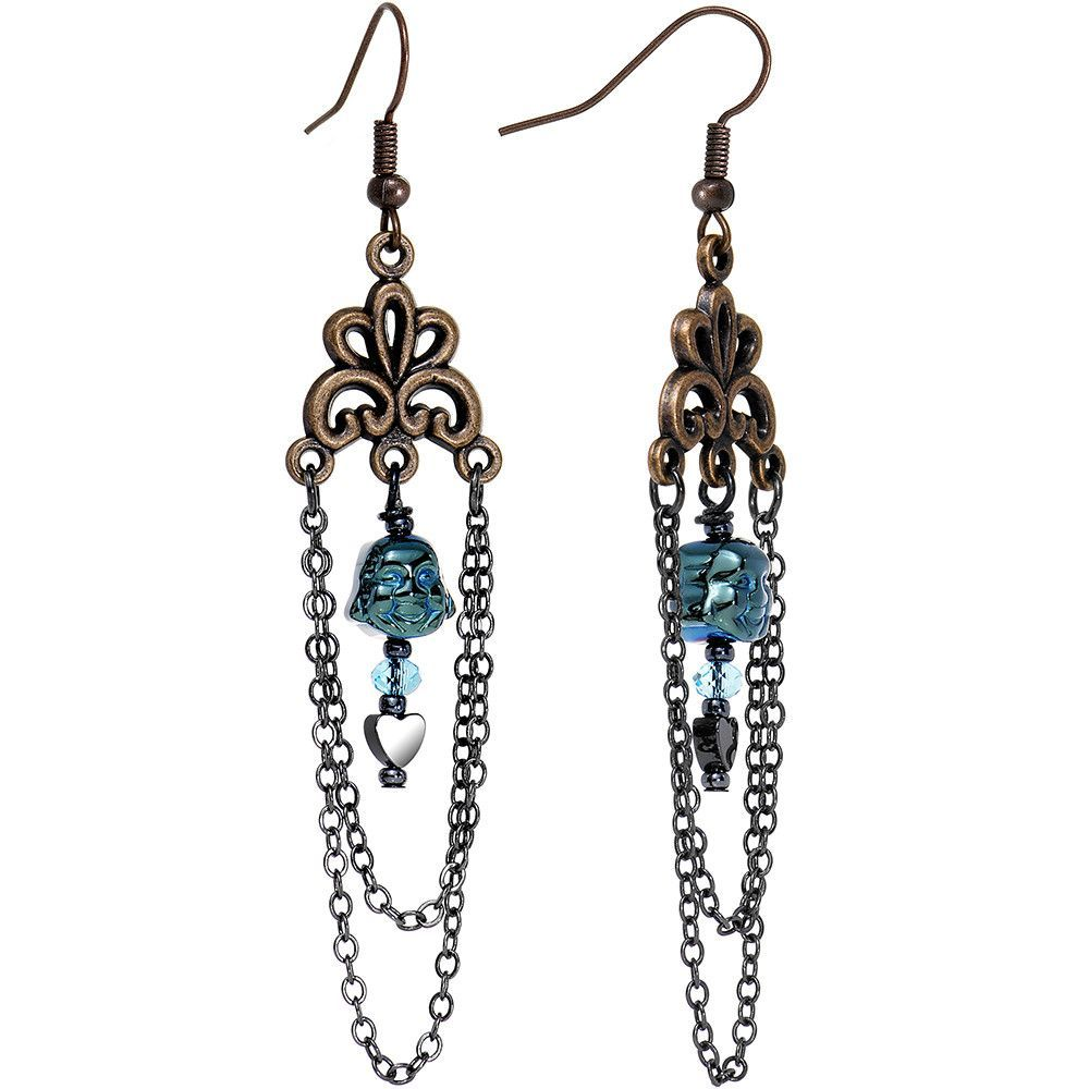 Blue Buddha Chain Chandelier Earrings Created with Swarovski Crystals