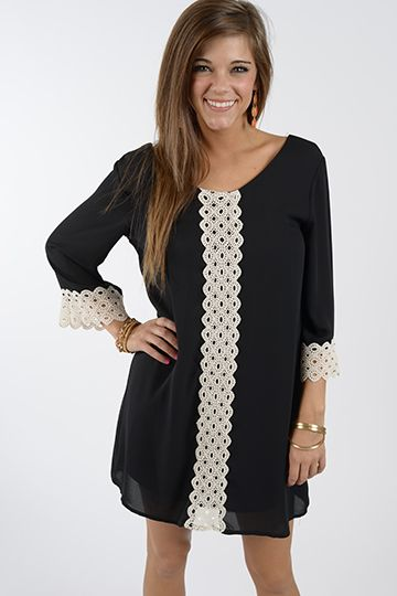 """We love love love how the circular crochet design adds that great vintage feel to this dress! Fully lined, this shift dress has a trendy, loose fit that makes it so comfortable! :) Fits true to size. Miranda is wearing the small. Length from shoulder to hem: S- 32.5"""" M- 33"""" L- 33.5"""" XL- 34"""""""