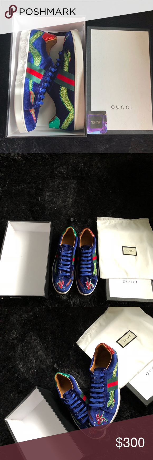 a49115276 Gucci Shoes Gucci New Ace Embroidered Velvet Low-Top Sneaker, Blue,  Embroidered Dragon