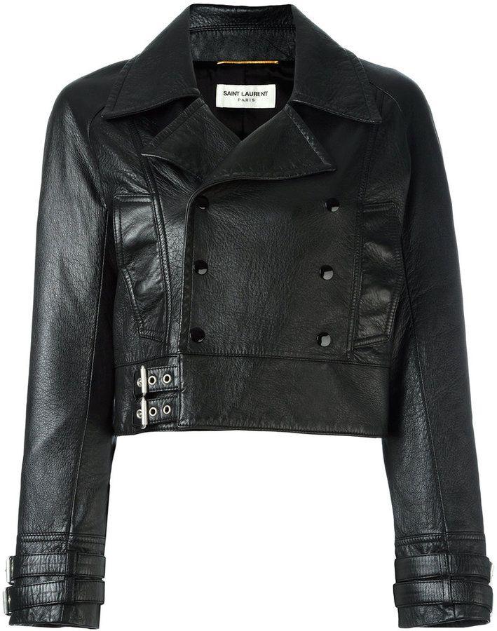 787221ec627 Saint Laurent cropped leather biker jacket   Products in 2019 ...
