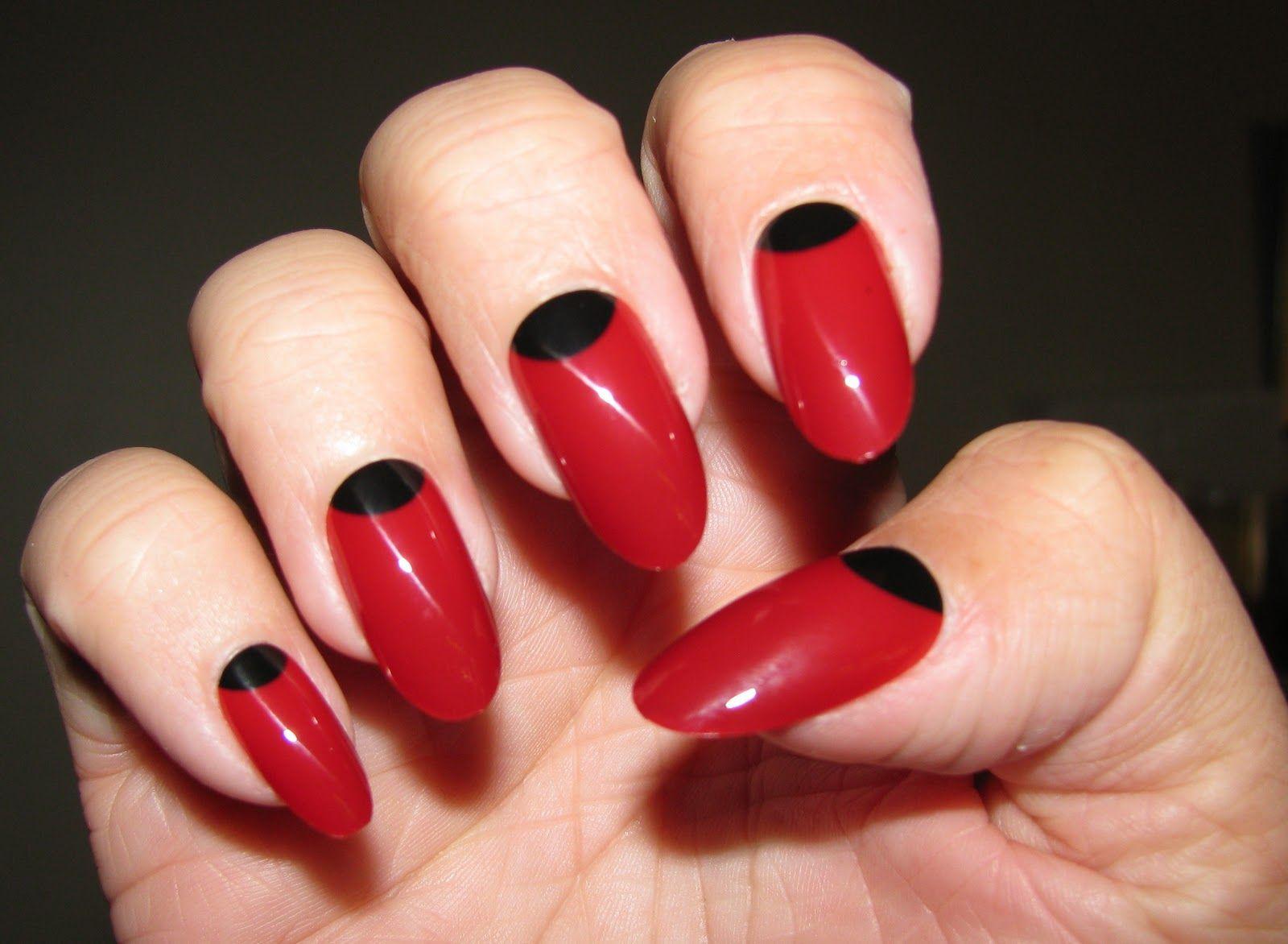 fashion #nails #red #gloss #halfmoon #manicure | beauty