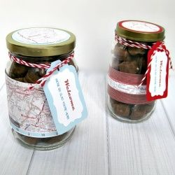 Greet your out-of-town guests with a welcome gift made with a repurposed jar.