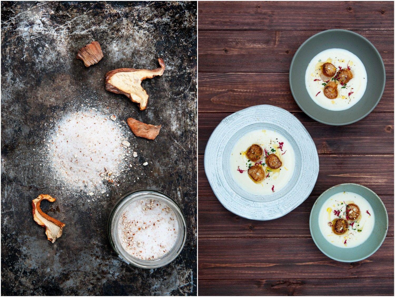 Lait de chou fleur, pétoncle rôti, sel aromatisé aux champignons homards (avec images) | Chou ...
