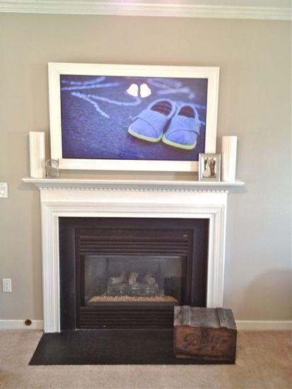 Custom TV Frame for TV Over Fireplace Centered View | TV Frame ...