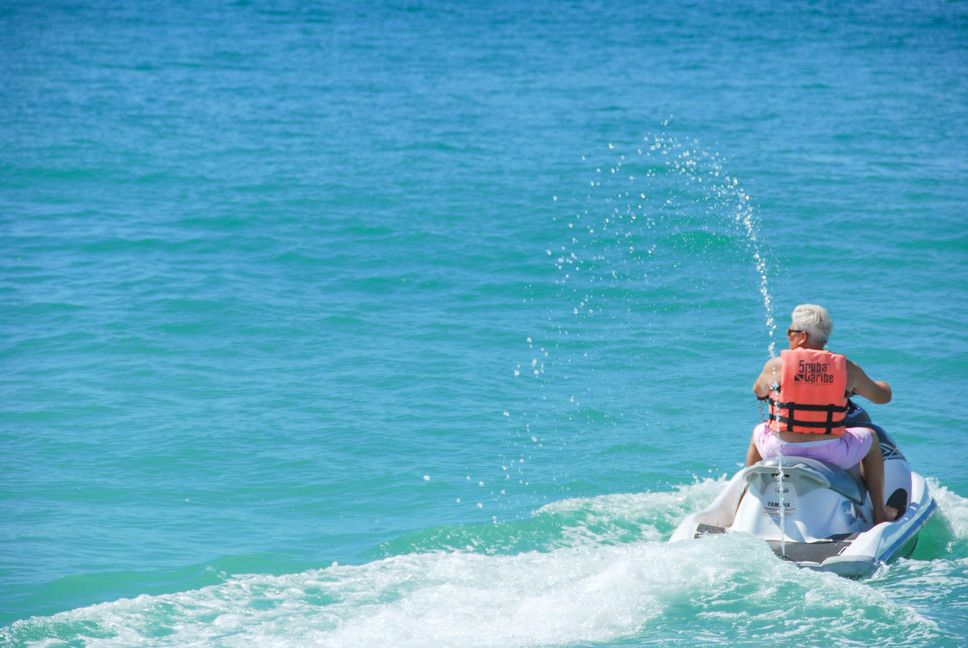 Jet skiing on Medano Beach in Cabo San Lucas, Mexico.