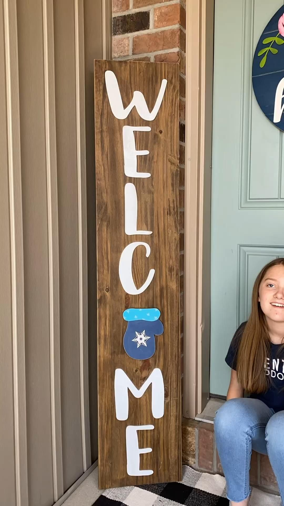 This cute DIY Welcome sign kit has interchangeable magnetic shapes that you can swap out each month.  We have over 30 different shapes to pick from.  This is such a fun way to dress up your front porch to welcome your guests.   Perfect craft to make with your kids while you are all home.