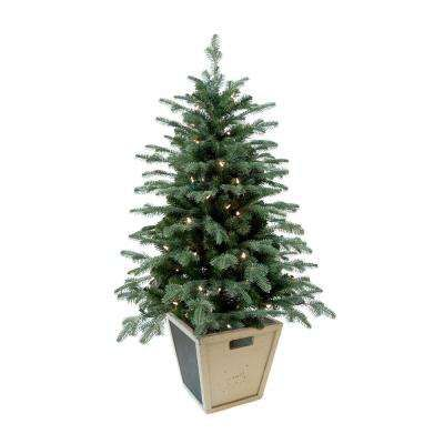 4 Ft Pre Lit Balsam Artificial Christmas Porch Tree With Battery Operated Warm White Led Light And Christmas Porch Porch Christmas Tree Potted Christmas Trees