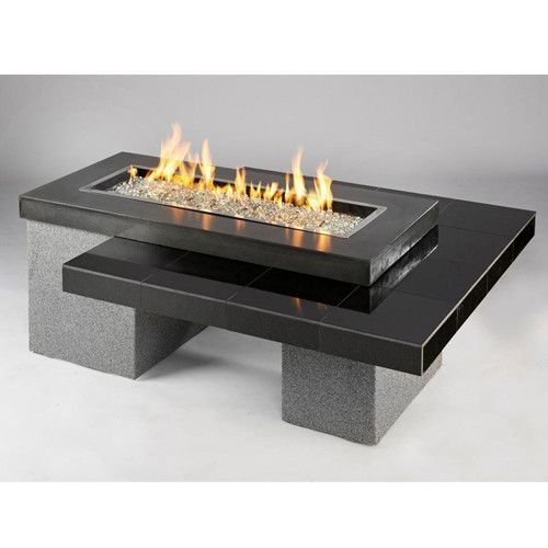 Uptown Black Crystal Fire Pit Table With Tile Top And Rectangular Burner Fire Pit Table Gas Fire Pit Table Outdoor Fire Pit Designs