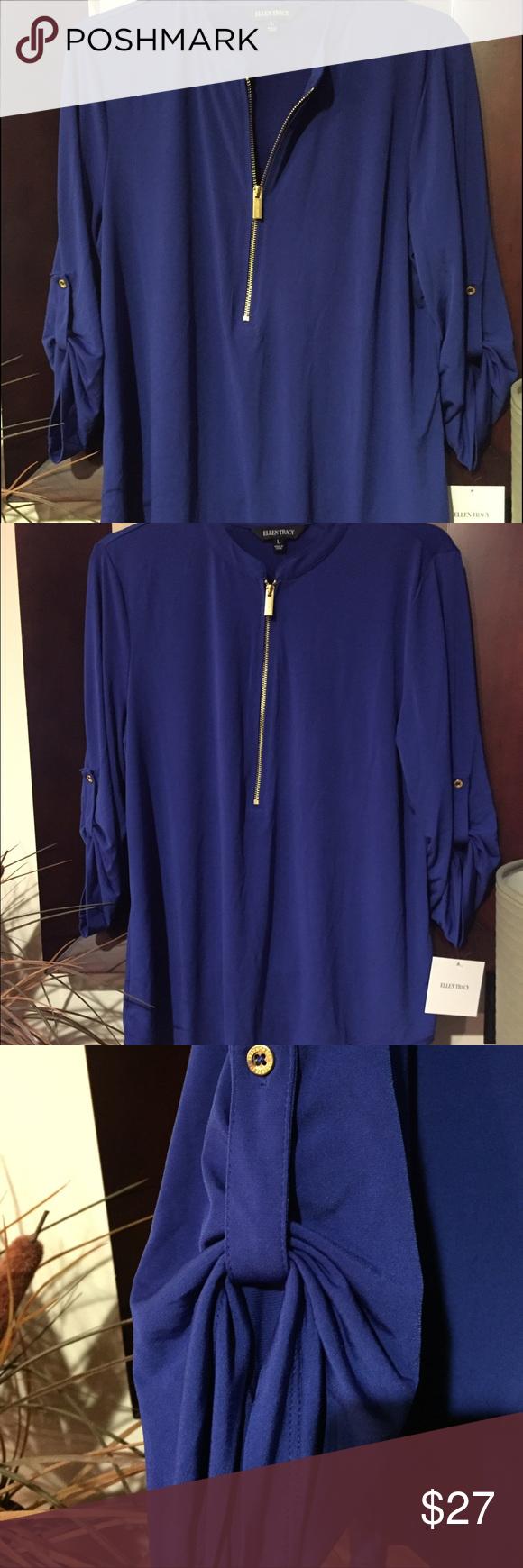 Ellen Tracy pullover top NWT'S Ellen  Tracy 3/4 zip neck pullover top. 95% polyester 5% elastane. Ellen Tracy Tops