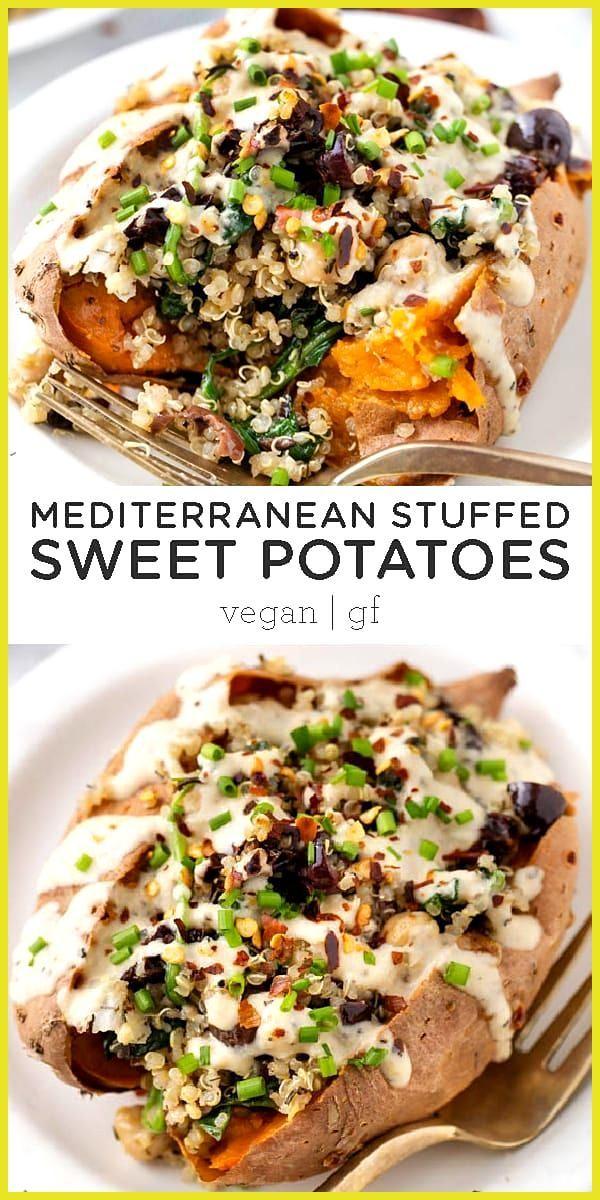 Vegan Stuffed Sweet Potatoes with Mediterranean Quinoa Vegan Stuffed Sweet Potatoes recipe filled w