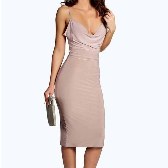 Slinky top taupe dress sexy slinky top taupe dress by for Boohoo dresses for weddings