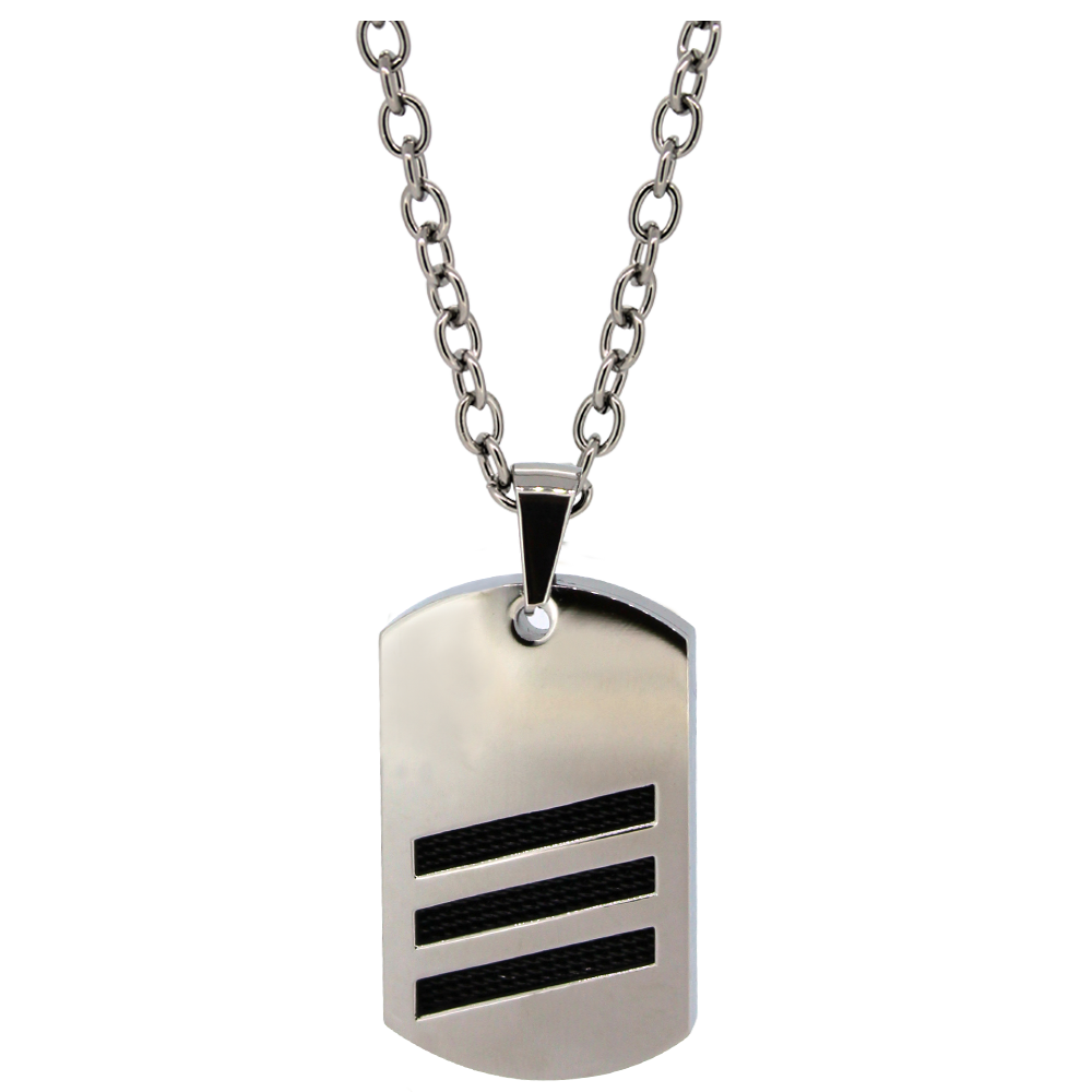Sutton Stainless Steel Striped Dog Tag Pendant Necklace