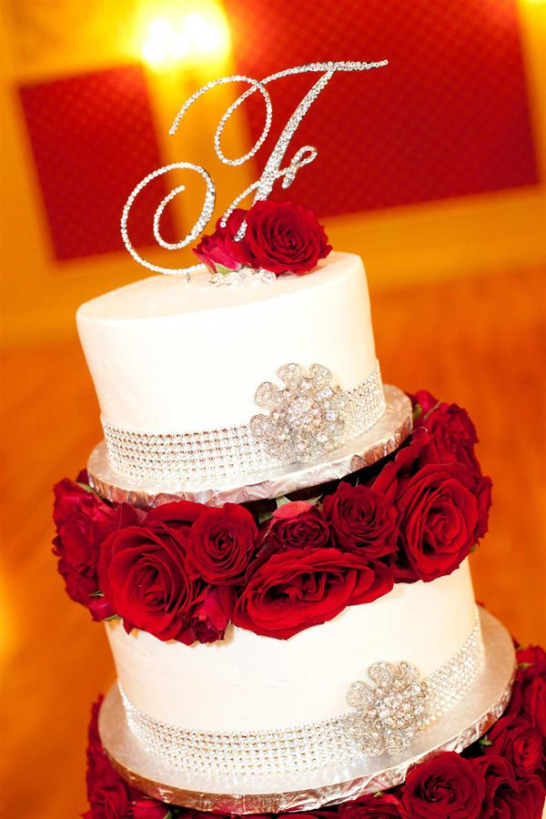Red And Silver Wedding Cake Stlouis