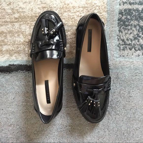 ed7a2c37081 Zara Trafaluc Loafers with Tassels US size 6   EU size 36. Leather Zara  loafers