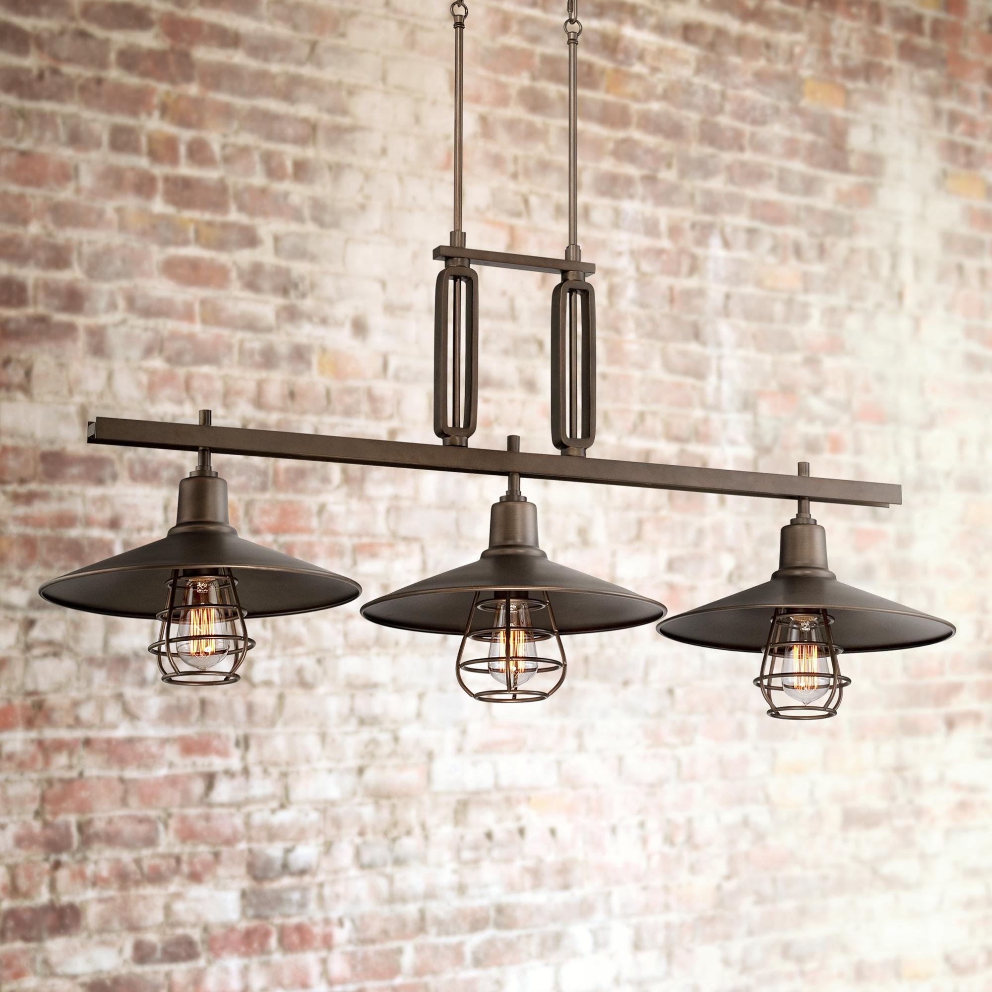 Garryton 44 Wide Bronze Kitchen Island Light Chandelier 8g601 Lamps Plus Kitchen Island Lighting Bronze Kitchen Rubbed Bronze Kitchen