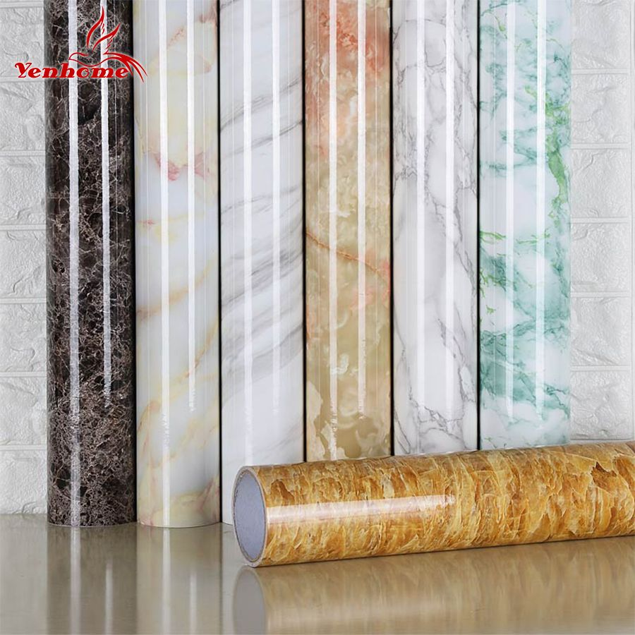 Green Marble Self Adhesive Wallpaper Stickers Kitchen Countertop Wall Decor 5m