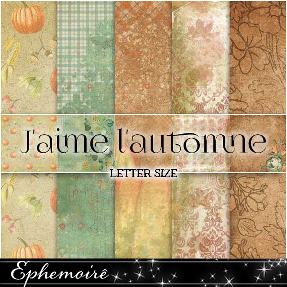 J'aime L'automne Autumn Fall Background - Printable Papers - Autumn Prints - Letter Size - Fall Background Papers - Journal Scrapbook Papers #fallbackgrounds