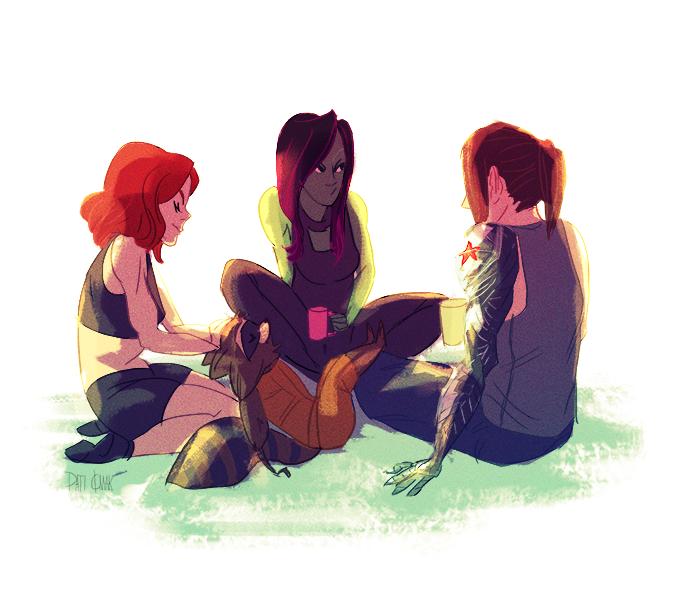 Natasha Romanoff, Gamora, Bucky Barnes & Rocket Raccoon