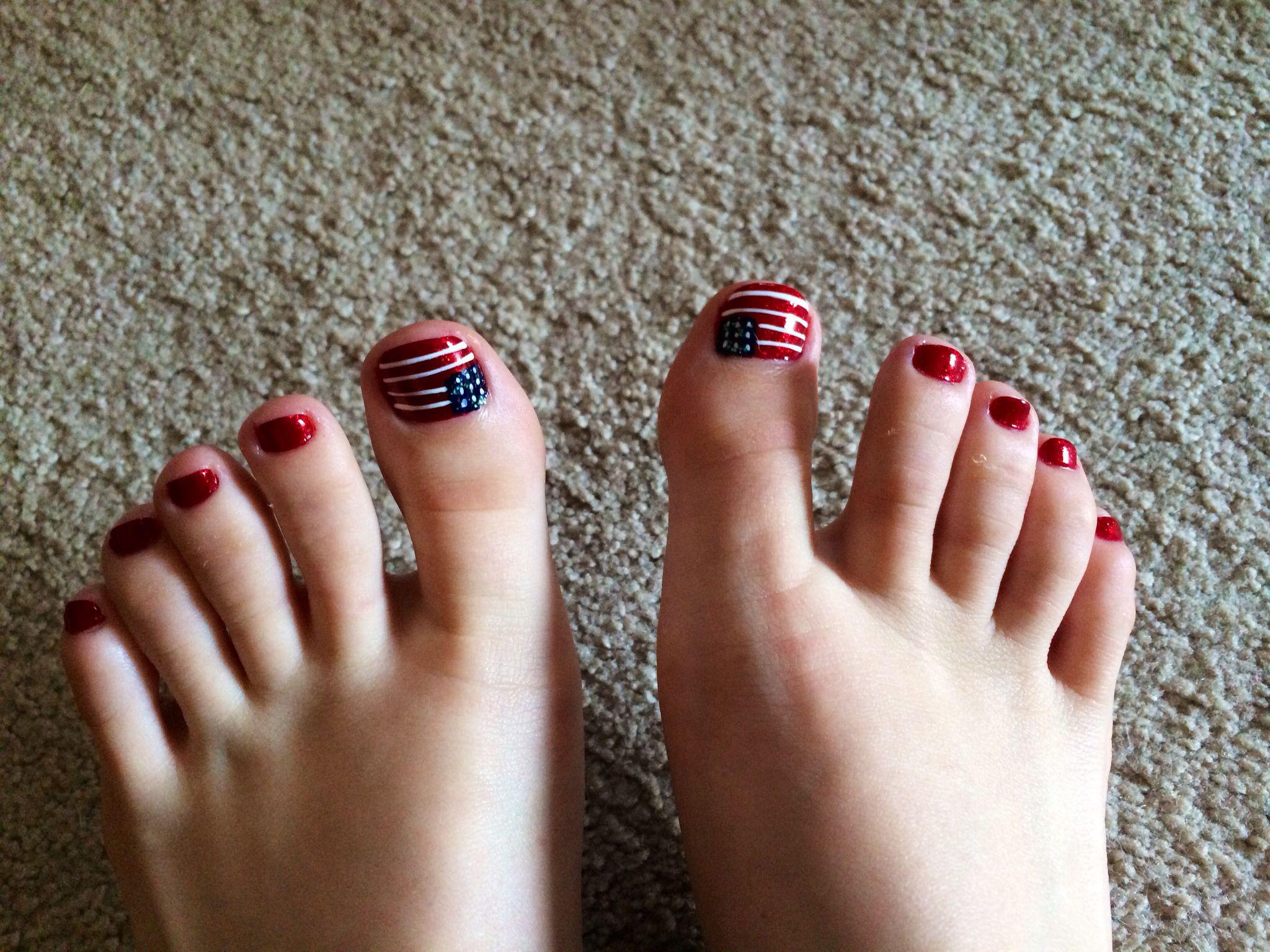 American Flag Toe Nails 4th Of July Nails Nail Designs July Nails