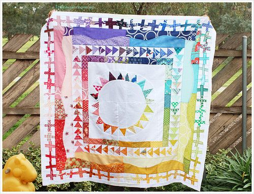 Rainbow Modern Medallion quilt by Amira at Little Mushroom Cap