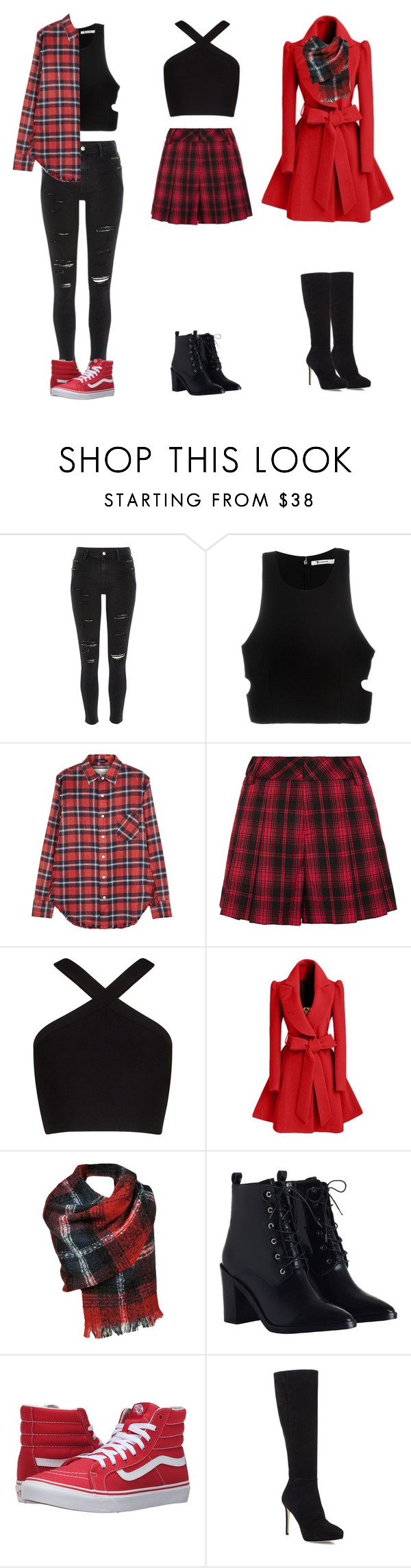 """3 way plaid"" by pandagirl1106 ❤ liked on Polyvore featuring River Island, T By Alexander Wang, R13, Alice + Olivia, BCBGMAXAZRIA, Zimmermann, Vans and Jimmy Choo"