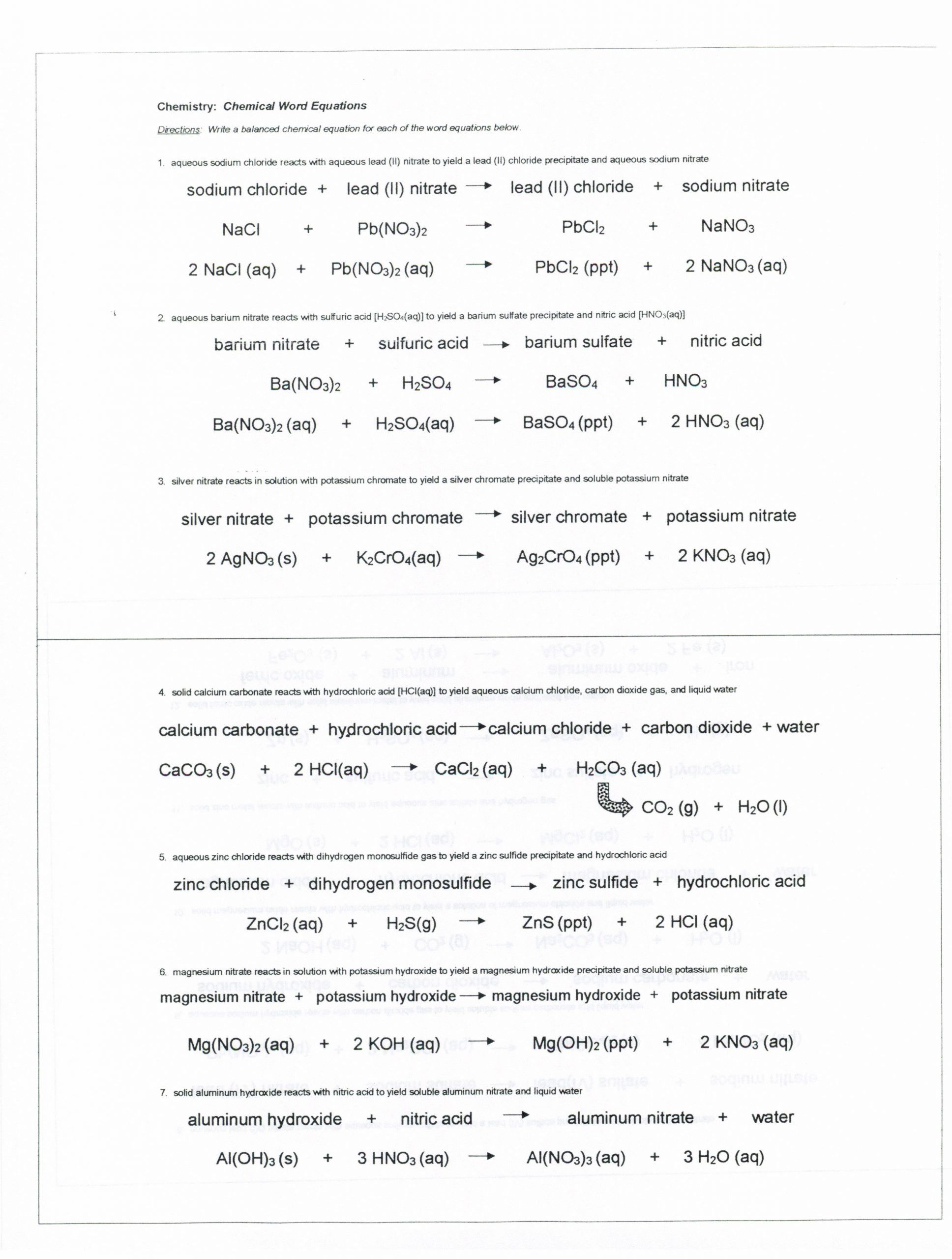 Chemical Reactions Worksheet Grade 8