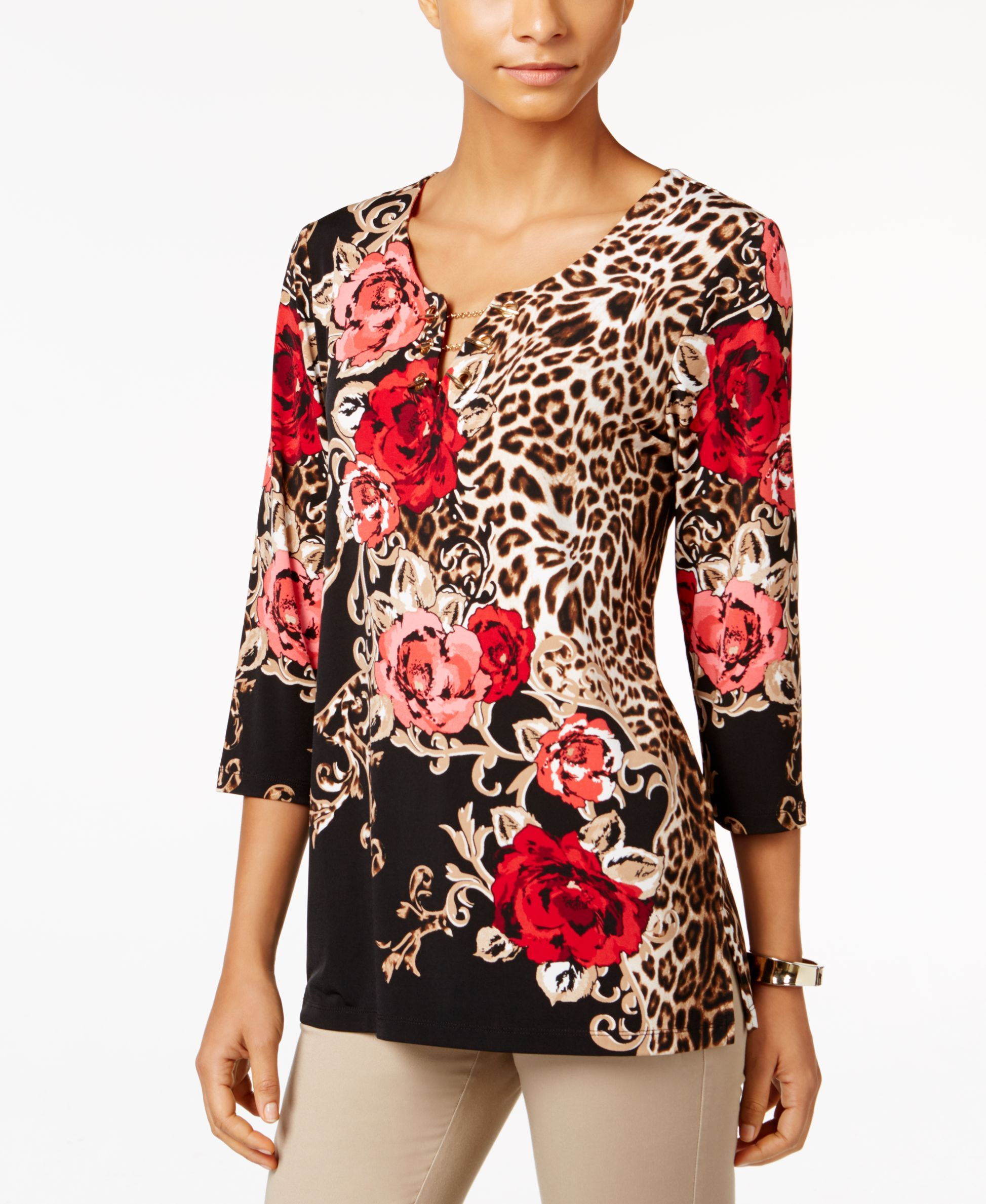 Jm Collection Chiffon-Trim Keyhole Top, Only at Macys