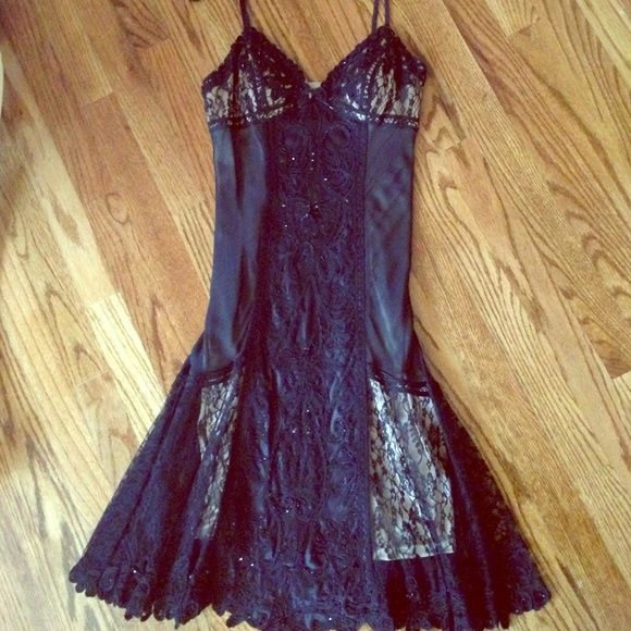 beautiful black beaded dress sue Wong black dress with nude see through new condition with tag Sue Wong Dresses