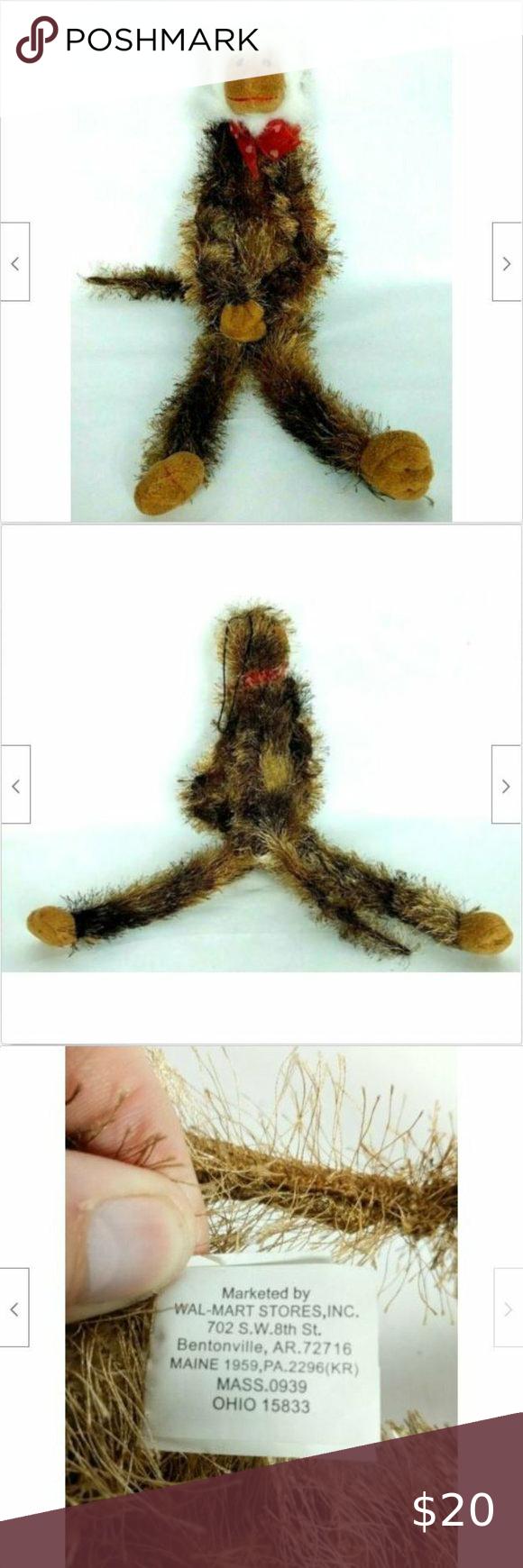 "Walmart Valentine Monkey Plush with Bow 20"""