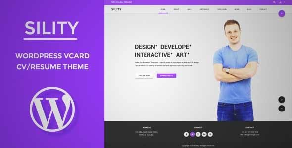 Download and review of Sility - vCard, CV \ Resume WordPress Theme - wordpress resume themes