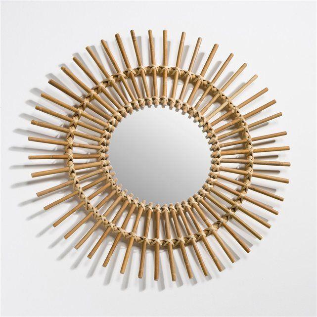 Miroir rotin forme soleil vintage, Nogu Fixation murale, Miroir