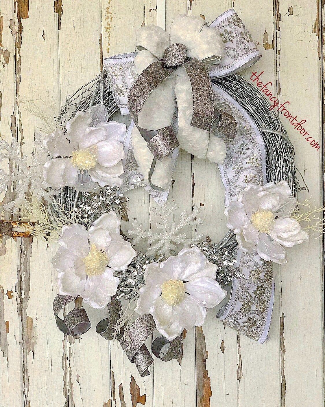 Winter Wreath Magnolia Wreah Christmas Wreath Silver Christmas