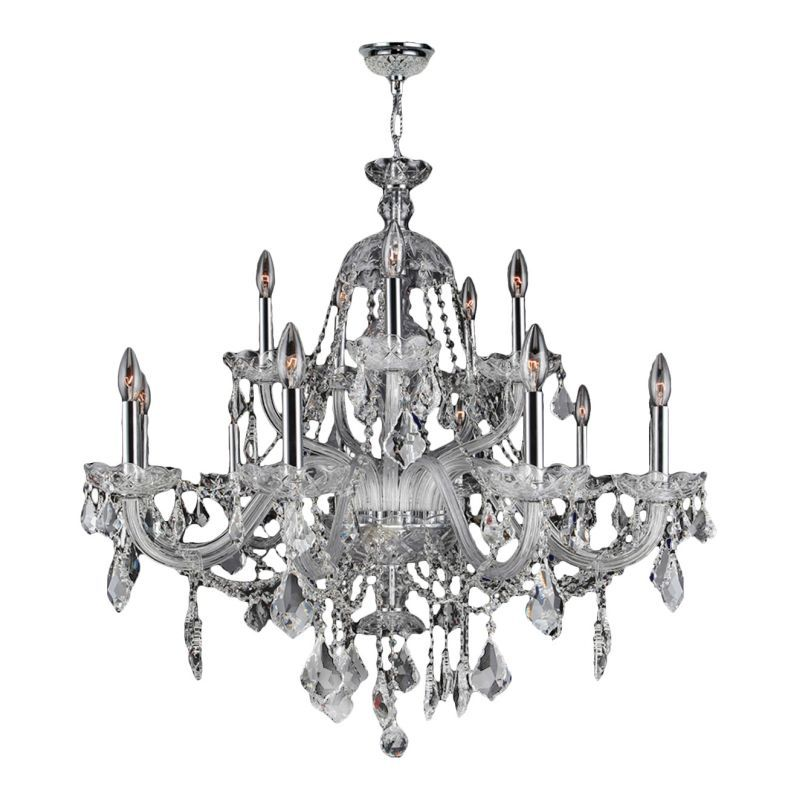 "Worldwide Lighting W8310135 Provence 15 Light 35"" Wide Crystal Chandelier with C Polished Chrome / Clear Crystal Indoor Lighting Chandeliers"