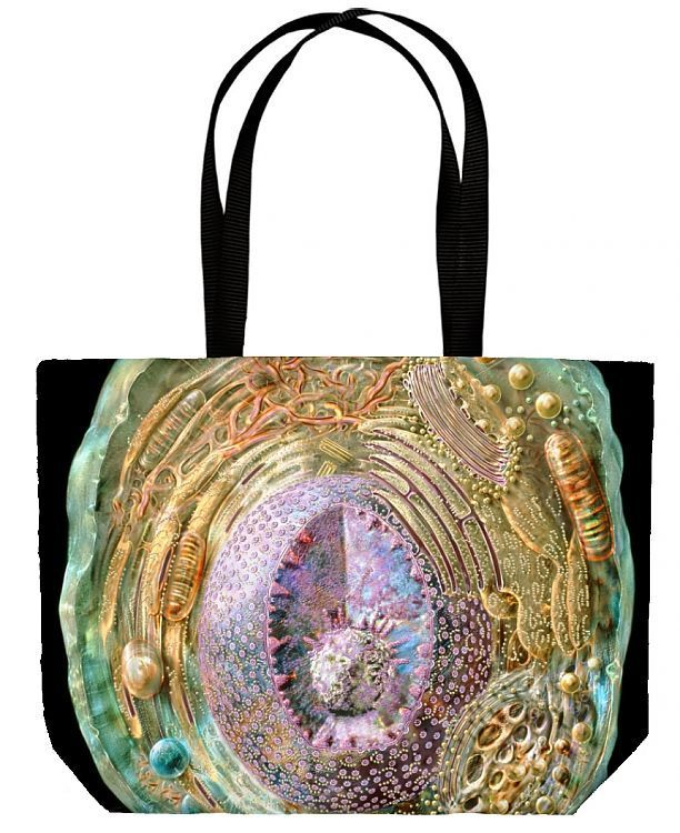 Canvas Tote Bag. Animal cell, cutaway artwork. The cell membrane (green) surrounds internal structures(organelles) that include the nucleus (purple), which contains the nucleolus (sphere, lower centre). The nucleus contains theDNA ( deoxyribonucleic acid ) that controlsprotein synthesis on ribosomes (chains ofsmall yellow spheres) in the rough ER( endoplasmic reticulum, membrane folds, above and at right of nucleus). The proteins arestored in the flattened membranes of the Golgi complex (above a