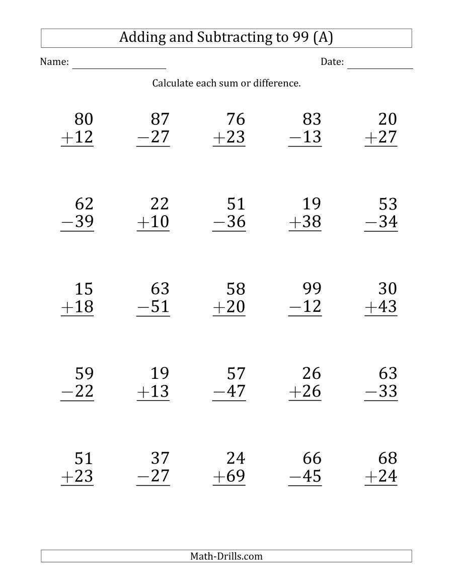 Math Worksheets Addition and Subtraction Print Adding and Subtracting 2  Digit Numbers with Sum…   Subtraction worksheets [ 1165 x 900 Pixel ]