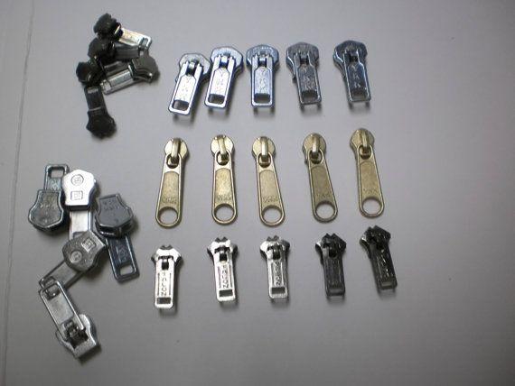 25 Zipper Pulls Metal Zipper Heads for Jewelry by VintageCarolina