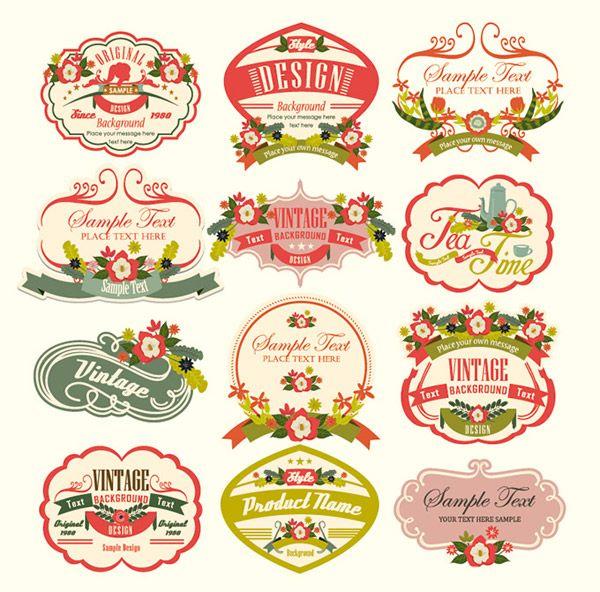 ヴィンテージレトロラベルフリー素材 Vintage Labels Vintage Text Vintage Logo