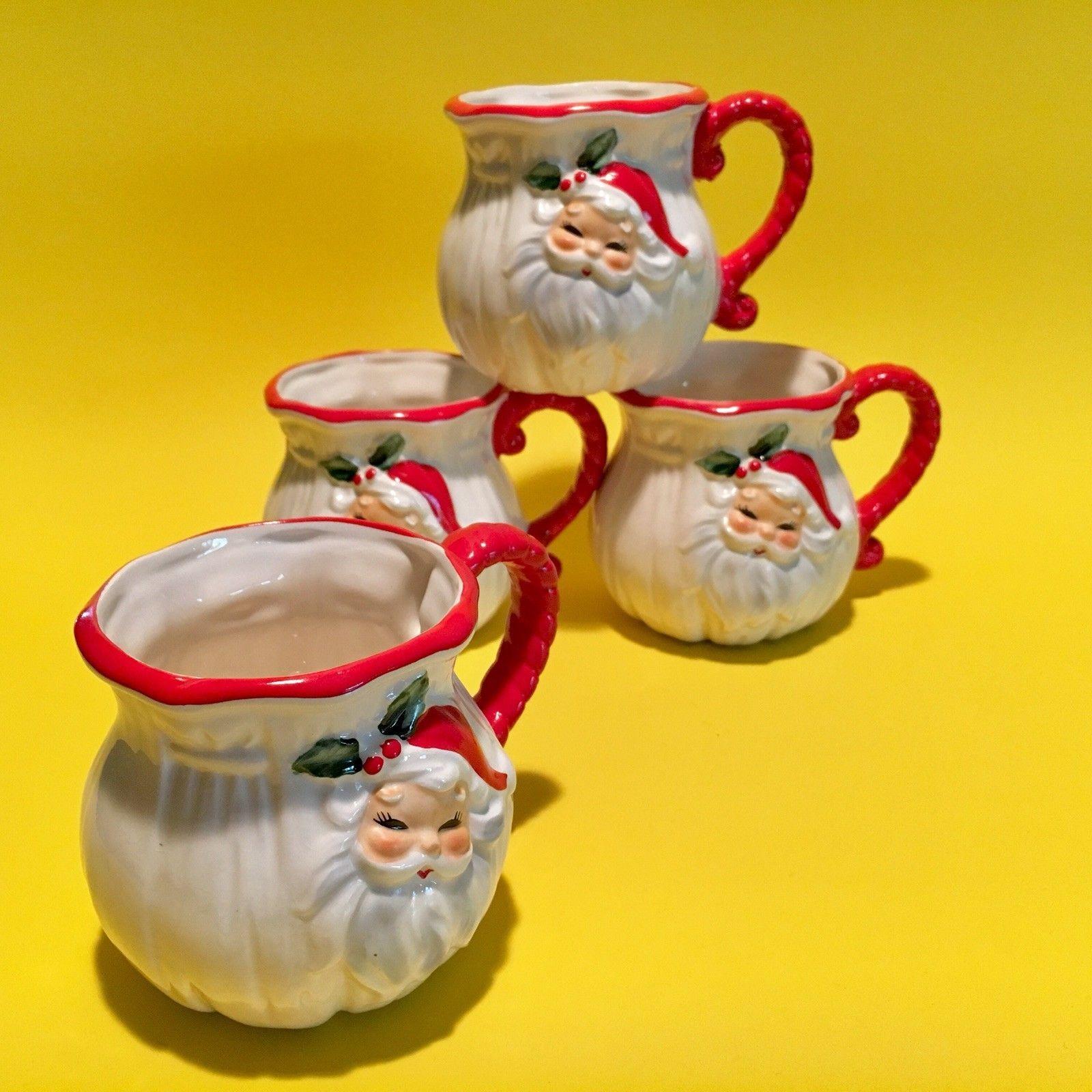 4 Vintage Josef Originals Santa Ceramic Cups Mugs Christmas ...