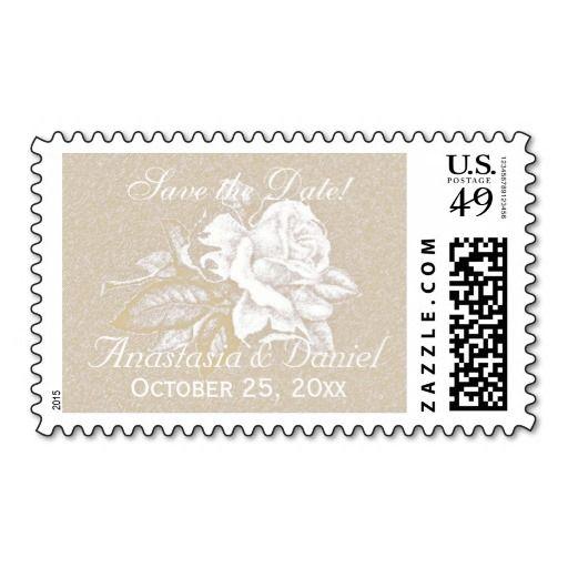 Vintage light sepia pink white rose custom stamp