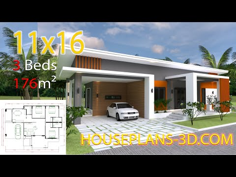3d Three Bedroom Plan 11x16m With 3 Bedrooms Youtube Affordable House Plans House Plans Small House Design Plans