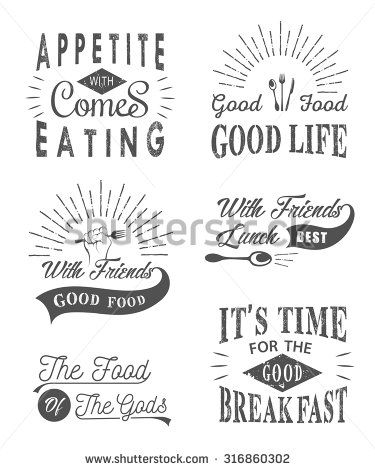 Set Of Vintage Food Typographic Quotes Vector Illustration Vintage
