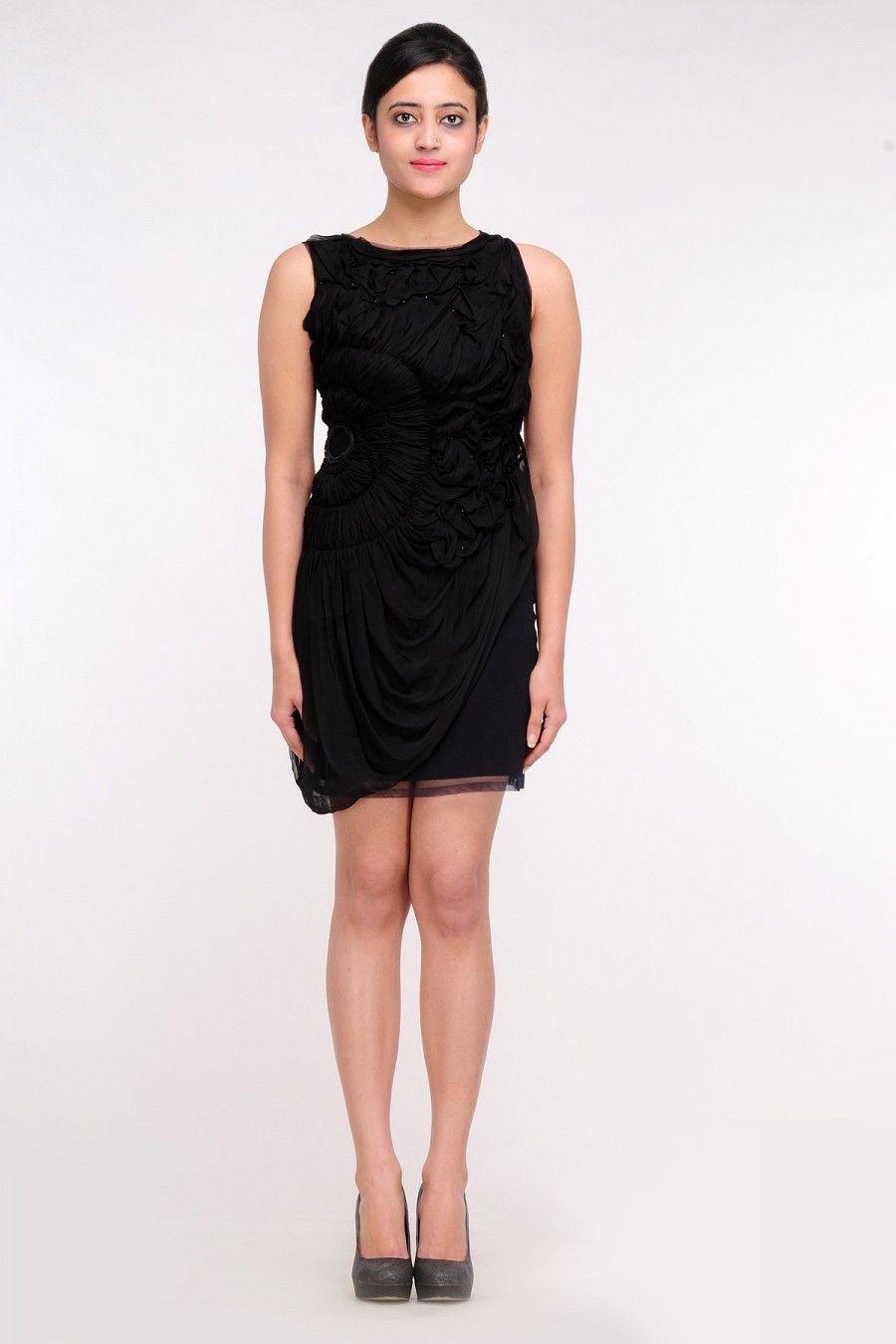 Black crumple chiffon dress