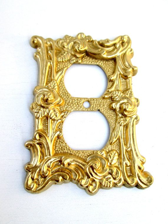 Vintage Hollywood Regency Art Nuevo Gold Roses Electrical Etsy Electrical Outlet Covers Hollywood Regency Vintage Hollywood
