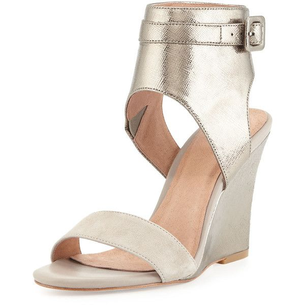 Joie Waylen Ankle-Strap Wedge Sandal (464.145 COP) ❤ liked on Polyvore featuring shoes, sandals, leather sandals, wedge sandals, strappy sandals, ankle wrap sandals and wedge heel sandals